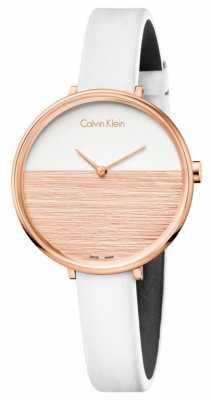 Calvin Klein Womens Rise White Leather Strap Beige Dial K7A236LH