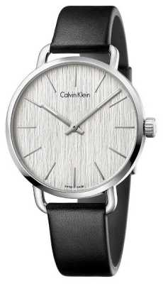 Calvin Klein Womens Even Black Leather Strap Silver Dial K7B211C6