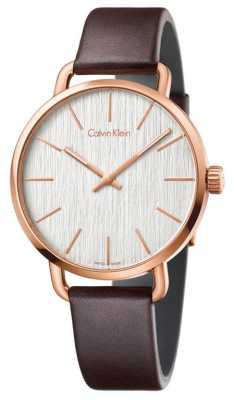 Calvin Klein FWomens Even Brown Leather Strap Silver Dial K7B216G6