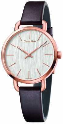 Calvin Klein Womens Even Brown Leather Strap Silver Dial K7B236G6