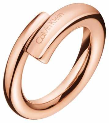 Calvin Klein Womens Scent Rose Gold PVD Ring KJ5GPR100107