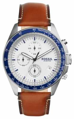 Fossil Mens Sport 54 Brown Leather Strap Chronograph CH3029