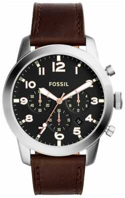Fossil Mens Pilot Chronograph Brown Leather Strap FS5143
