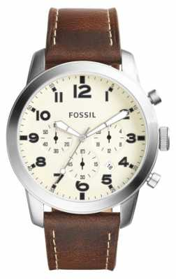 Fossil Mens Pilot Chronograph Brown Leather Strap FS5146