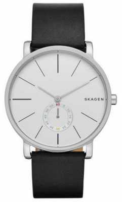 Skagen Mens Hagen black Leather Strap White Dial SKW6274