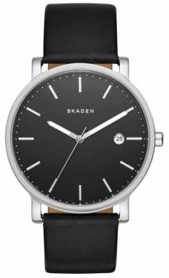 Skagen Mens Hagen Black Leather Strap Watch SKW6294