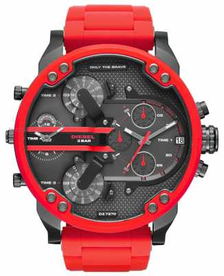 Diesel Mens Daddy 2.0 Red Silicone Stainless Steel DZ7370
