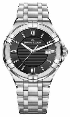 Maurice Lacroix Mens Aikon Stainless Steel Bracelet Black Dial AI1008-SS002-330-1