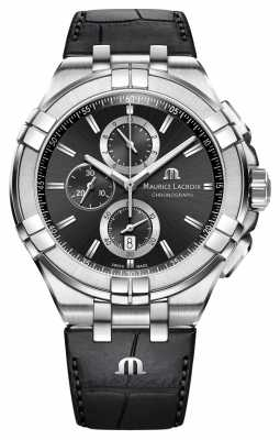 Maurice Lacroix Mens Aikon Chronograph Black Leather Strap Black Dial AI1018-SS001-330-1