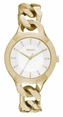 DKNY Womans Gold Plated Strap White Dial NY2217