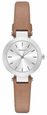 DKNY Womans Silver Dial Brown Leather Strap NY2406