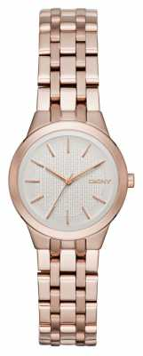 DKNY Womans Silver Dial Rose Gold Metal Strap NY2492