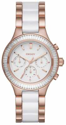 DKNY Womans White Chronograph Dial Two Tone Strap Rose Gold Case NY2498