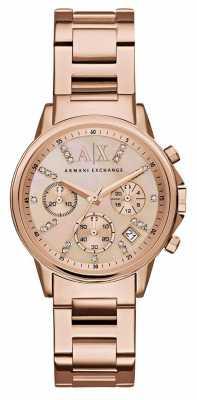 Armani Exchange Womans Rose Gold Chronograph Dial Rose Gold Metal Strap AX4326