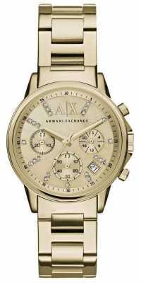 Armani Exchange Womans Gold Chronograph Dial Gold Metal Strap AX4327