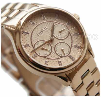 Fossil Womans Rose Gold Chronograph Dial Rose Gold Metal Strap BQ1561