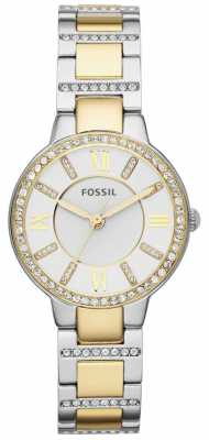 Fossil Womans White Dial Two Tone Metal Strap ES3503