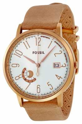 Fossil Womans Silver Dial Rose Gold Case Leather Strap ES3751
