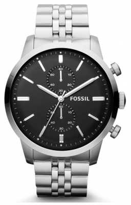 Fossil Mens Black Chronograph Dial Silver Metal Strap FS4784