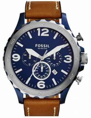 Fossil Mens Blue Chronograph Dial Brown Leather Strap JR1504