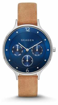 Skagen Womans Blue Chronograph Dial Brown Leather Strap SKW2310