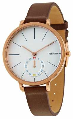 Skagen Womans White Dial Rose Gold Case Brown Leather Strap SKW2356