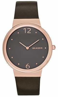 Skagen Womans Brown Dial Rose Gold Case Brown Leather Strap SKW2368