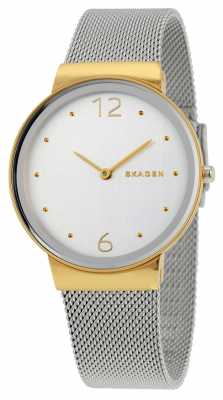 Skagen Womans Silver Dial Gold Case Silver Mesh Metal Strap SKW2381
