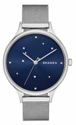 Skagen Womans Blue Crystal Constellation Dial Silver Metal Strap SKW2391