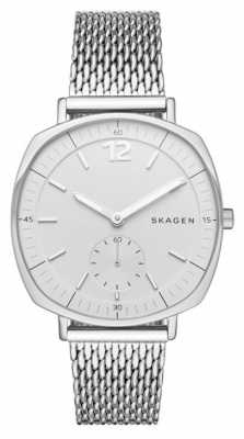 Skagen Womans White Dial Silver Case Metal Silver Mesh Dial SKW2402