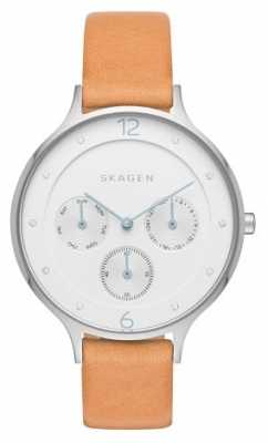 Skagen Womans White Chronograph Dial Brown Leather Strap SKW2449