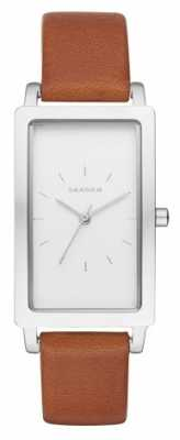 Skagen Womans White Rectangle Dial Brown Leather Strap SKW2464