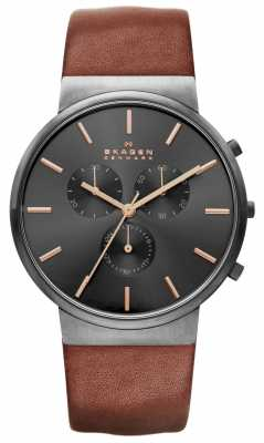 Skagen Mens Round Black Chronograph Dial Brown Leather Strap SKW6106