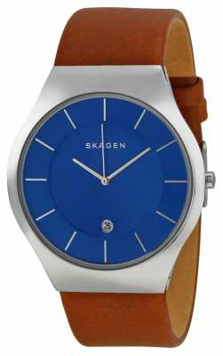 Skagen Mens Blue Dial Silver Case Brown Leather Dial SKW6160