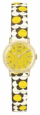 Orla Kiely Womans Yellow Gold Plated Dial Patterned Strap OK4044