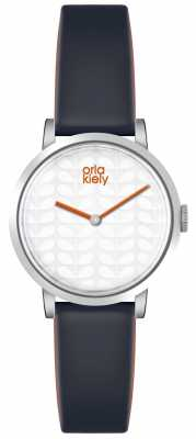 Orla Kiely Womans White Dial Dark Grey Leather Strap OK2049