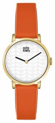 Orla Kiely Womans Cream Dial Orange Leather Strap OK2114