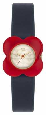 Orla Kiely Womans Red Poppy Case Navy Leather Strap OK2062