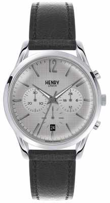 Henry London Womans Grey Chronograph Dial Grey Leather Strap HL39-CS-0077