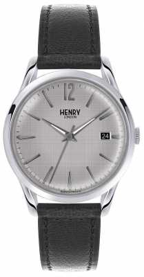Henry London Mens Silver Dial Black Leather Strap HL39-S-0075