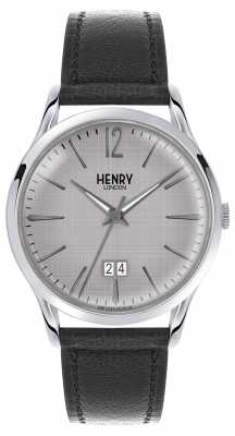 Henry London Mens Grey Dial Black Leather Strap HL41-JS-0081