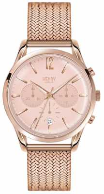 Henry London Womans Rose Gold Chronograph Dial Rose Gold Plated Mesh HL39-CM-0168