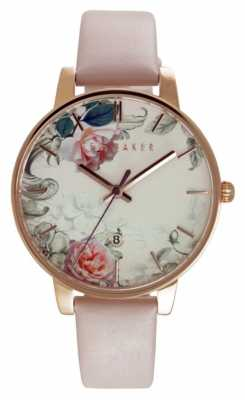 Ted Baker Womens Floral Dial White Leather Strap TE10030653
