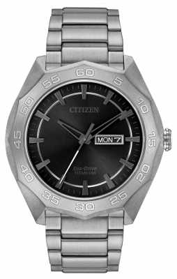 Citizen Mens Titanium Bracelet Black Dial AW0060-54H