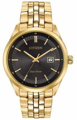Citizen Mens Gold PVD Plated Bracelet Black Dial BM7252-51E