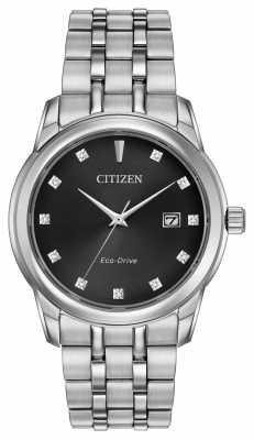 Citizen Mens 11 Diamond Stainless Steel Bracelet Black Dial BM7340-55E