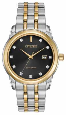 Citizen Mens 11 Diamond Two Tone Bracelet Black Dial BM7344-54E