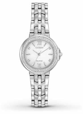 Citizen Womens 28 Diamonds Stainless Steel White Dial EM0440-57A