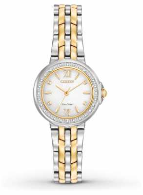 Citizen Womens 28 Diamonds Two Tone Stainless Steel Bracelet EM0444-56A