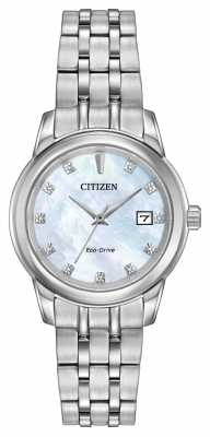 Citizen Womens 11 Diamond Stainless Steel Bracelet Mother Of Pearl EW2390-50D